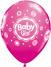 Baby Girl Dots Pink Balloons 6 Pack